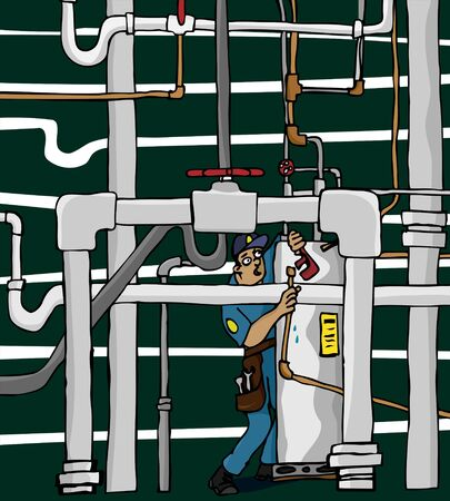 An overwhelmed plumber works in a maze of shoddy pipework. Stock Illustratie