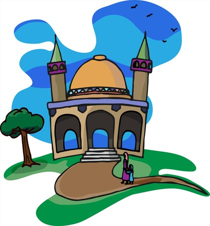 A mother and daughter walk together on a beautiful day for a visit to a little mosque on a hill. Vector