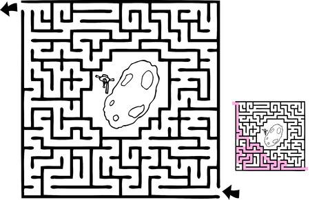 해결책이있는 초보자 수준의 공간 모험 테마 미로. 일러스트