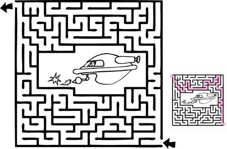 1 つ初心者レベルのスペース アドベンチャー テーマ迷路ソリューション。  イラスト・ベクター素材