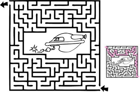 game plan: One beginner-level space adventure themed maze with solution.