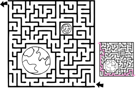 One beginner-level space adventure themed maze with solution. Vector