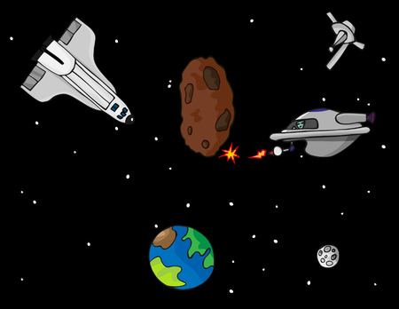 space: A fantasy exploration adventure in outer space with a space shuttle, satellite, space alien and asteroid. Illustration