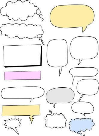 thinking machine: Un conjunto de nubes de palabra c�mico de estilo cl�sico para voz, pensado, mec�nicos y la narraci�n.  Vectores