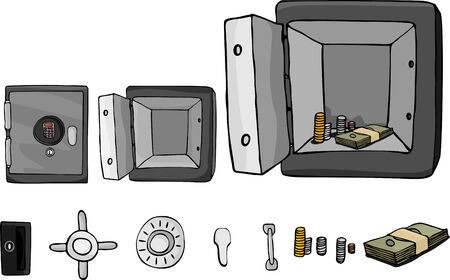 An open or closed vault with cash inside. Includes isolated elements with optional parts. Vector