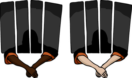 jailbird: Prisoner holding arms outside of a jail cell. Includes two variations.