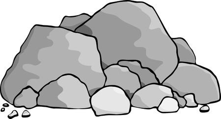 둥근 돌: A pile of boulders and rocks. 일러스트