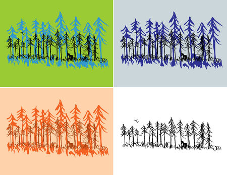 A hand drawn pine forest scene with seasonal colors and plain black.