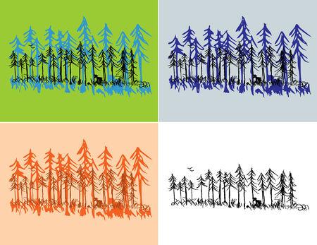silhouette arbre hiver: Une sc�ne de for�t PIN dessin� main avec couleurs saisonni�res et noir ordinaire.  Illustration