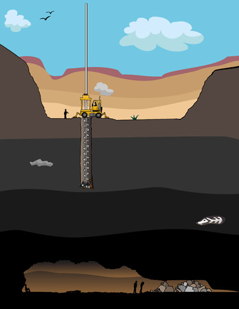 A giant drill bores a hole to rescue trapped miners deep underground.