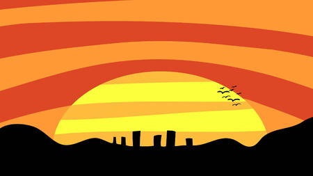 sprawl: A sunset scene with birds and mountains near a small city.