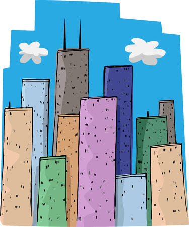 viewpoint: Colorful tall buildings and a blue sky in a big city.