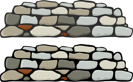 A stone wall with black and grey mortar variations Illustration