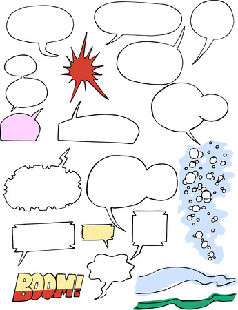 narrate: Various comic word clouds, bubbles and shapes. Illustration