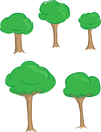 A set of 5 cute puffy trees Vector