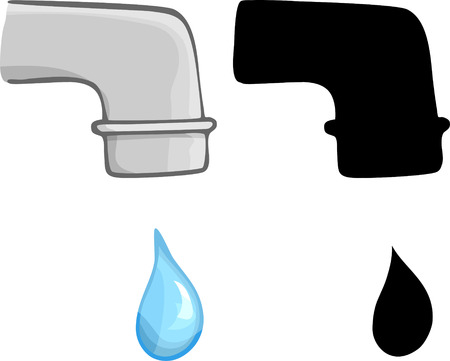 conserve: Water dripping from a faucet in color and silhouette formats.