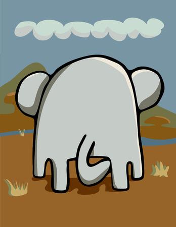 Rear-end view of an elephant grazing in an African grassland. Ilustração