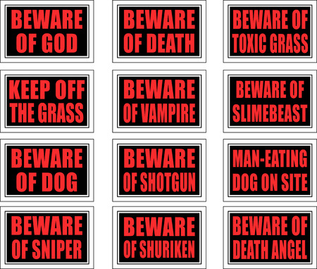 12 warning signs with practical and creative seriousness. Stock Vector - 8004794