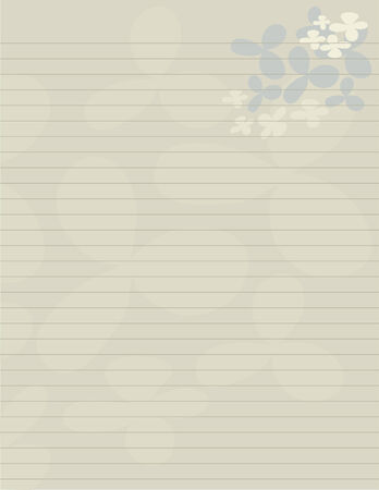 Lined paper stationery with flowery pedals in earth tones.
