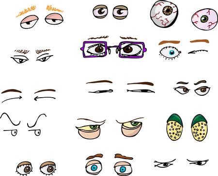 ojos caricatura: Conjunto de 15 diferentes de ángulo de avance de humanos y ojos de fantasía para todos los usos.  Vectores
