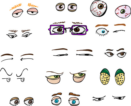 eyebrow: Set of 15 various forward-angle human and fantasy eyes for all uses.
