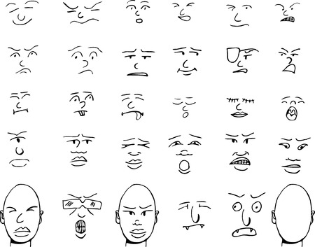 Set of human and fantasy faces and matching heads with various expressions.