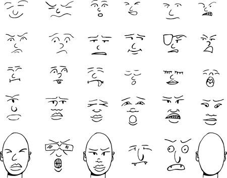 Set van mensen en fantasie gezichten en overeenkomende koppen met verschillende expressies.