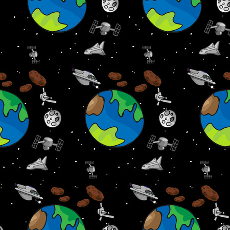 A seamless offset pattern with space exploration themes Çizim