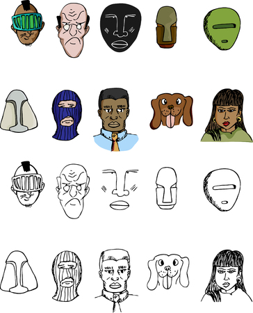 latina: Set of 10 diverse human faces, dog and indigenous masks with various expressions.