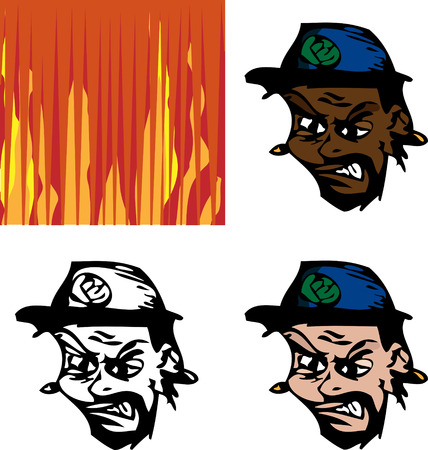 mugshot: Three avatar versions of an angry man with fiery background option.