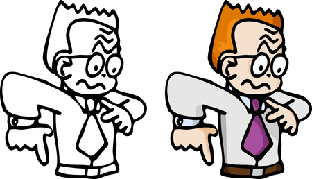 worried executive: Cartoon of a jittery red-haired business man in B&W and color. Illustration