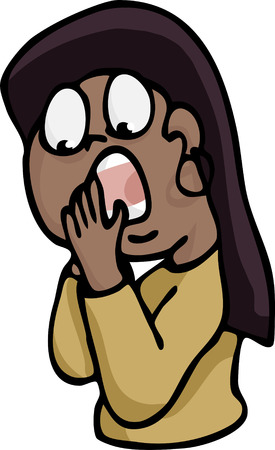 south asian: A cartoon of a shocked young South Asian, Latina or Native American woman. Illustration