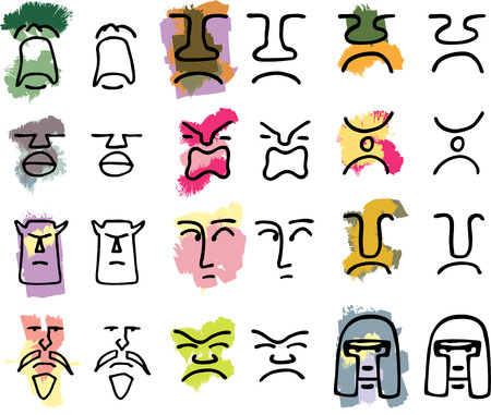 pout: Twelve hand-drawn tribal mask icons with various emotions in color or black only.