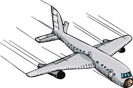 avion caricatura: Caricatura de mano de un pasajero de avi�n volando hacia abajo r�pidamente a trav�s del aire.