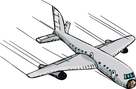 Hand-drawn cartoon of a passenger plane flying downward fast through the air.