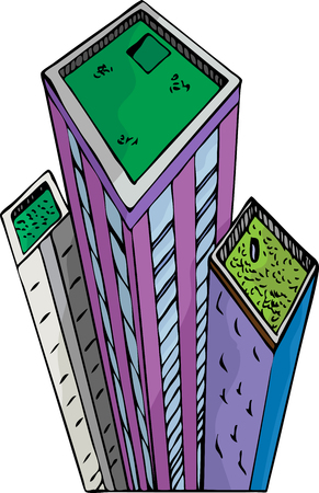 Green roof gardens on top of tall city buildings. Vector