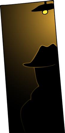 暗い戸口にトレンチ コートと帽子のバックライト付きの男。