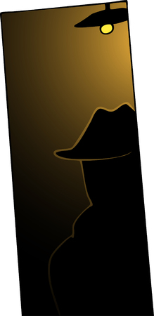 A man with trenchcoat and hat backlit in dark doorway.
