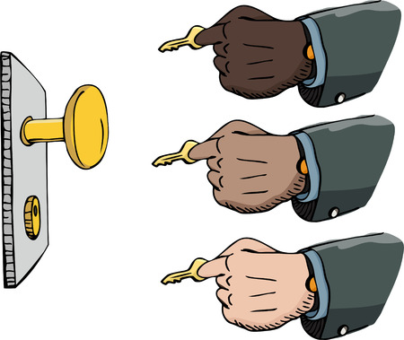 Multi-ethnic versions of a businessmans hand inserting a golden key into a lock. Vector
