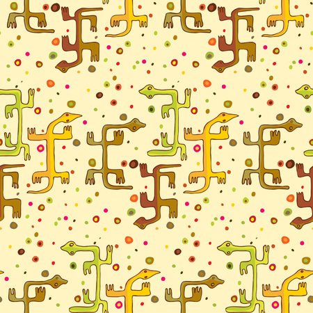 Dogon style lizards on a seamless wallpaper pattern