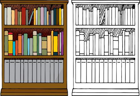 Diversos tipos de libros en blanco colocan en una estantería de madera de tres niveles con color y versiones sólo negro.