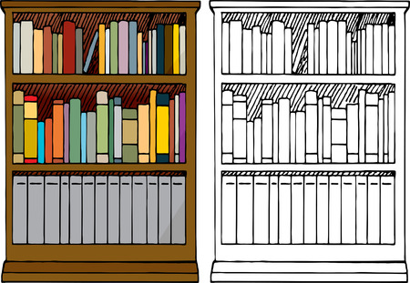 Various kinds of blank books placed in a 3-tier wooden bookshelf with color and black-only versions. Vector