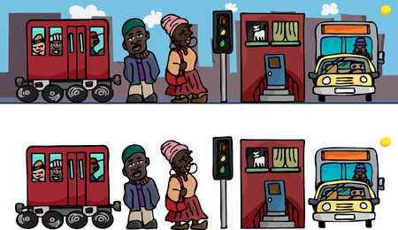 Osi-Ilorin-inspired contemporary urban lifestyle scene as a bas-relief cartoon or stand-alone objects. Vector