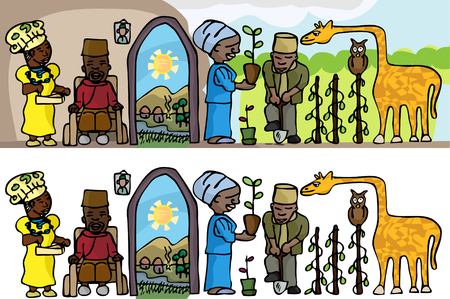 black family: Osi-Ilorin-inspired contemporary rural lifestyle scene as a bas-relief cartoon or stand-alone objects.
