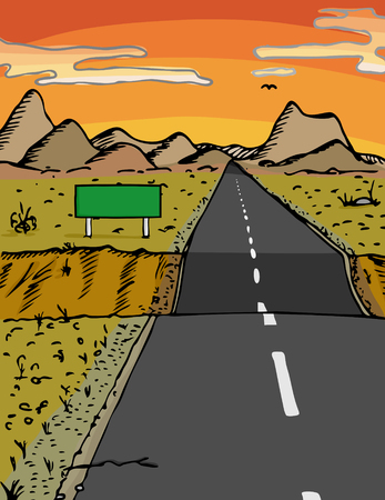 Road with dip and blank sign in a desert area during sunset