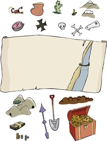 省略可能な項目と、コミック スタイルのカスタマイズ可能な宝物ハンター マップ テンプレート。すべての年齢のための楽しい。  イラスト・ベクター素材