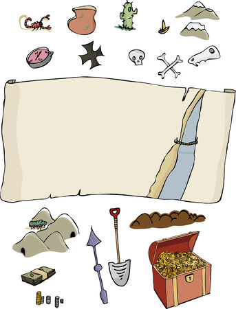 A customizable, comic-style treasure hunter map template with optional items. Fun for all ages. Vector