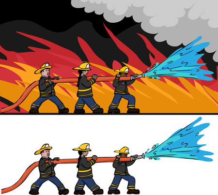 Three diverse male and female firefighters man a large hose to put out a large fire. Includes an isolated version. Illustration