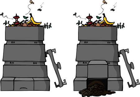 A hand-drawn illustration of full compost bin with a version with finished compost.