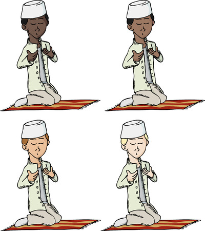 A cartoon of a young Muslim boy with fez making a supplication while sitting on a praying rug. Includes 4 versions in different skin and hair color.  Vector